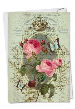 Stylish Thank You Printed Greeting Card by Batya Sagy from NobleWorksCards.com - Romance And Roses