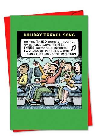 Humorous Christmas Greeting Card by Andy Singer from NobleWorksCards.com - Holiday Travel Song