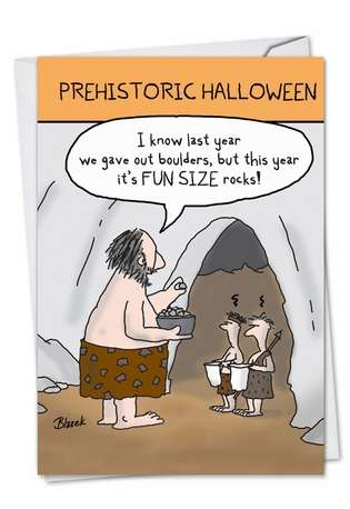 Hilarious Halloween Printed Greeting Card by Dave Blazek from NobleWorksCards.com - Prehistoric Halloween