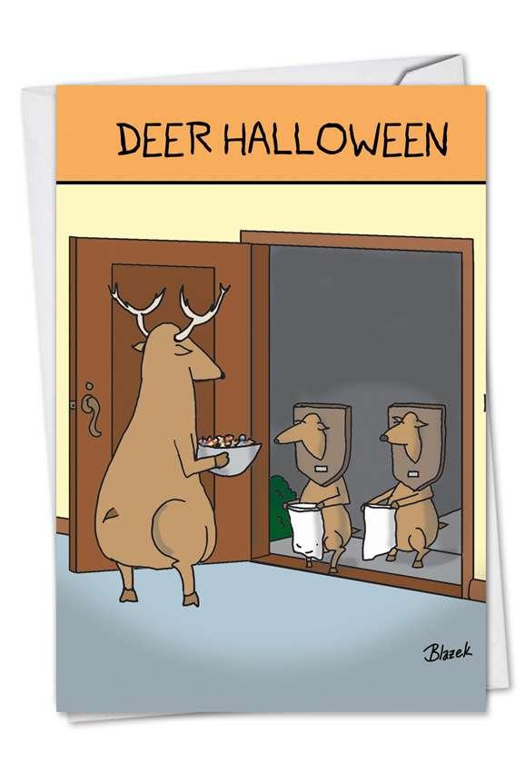 Humorous Halloween Paper Card by Dave Blazek from NobleWorksCards.com - Deer Halloween