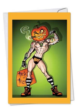 Hilarious Halloween Paper Greeting Card by Glen Hanson from NobleWorksCards.com - Pumpkinhead