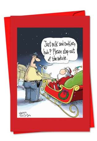 Humorous Christmas Paper Greeting Card by Glenn McCoy from NobleWorksCards.com - Santa DUI