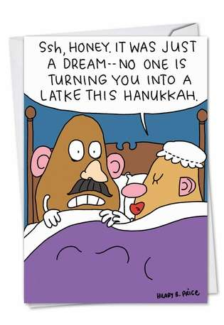 Hilarious Hanukkah Paper Card by Hilary Price from NobleWorksCards.com - Potatoheads