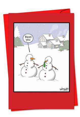 Snowman Sneeze Christmas Paper Card By Nobleworks