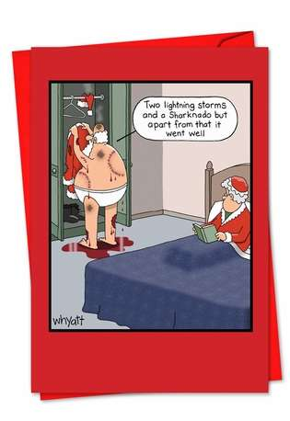 Hysterical Christmas Paper Card by Tim Whyatt from NobleWorksCards.com - Santa Sharknado