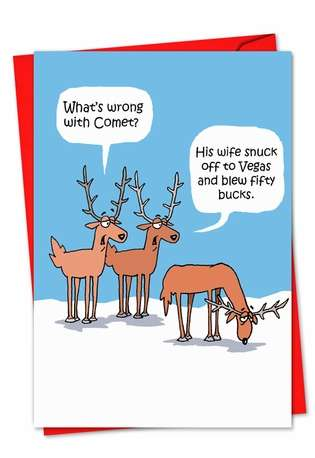 Funny Christmas Paper Card by D. T. Walsh from NobleWorksCards.com - Comet's Problem