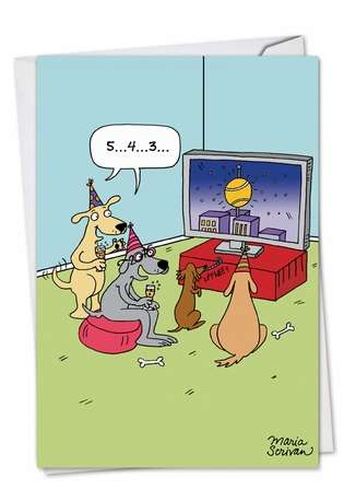 Funny New Year Printed Greeting Card by Maria Scrivan from NobleWorksCards.com - Dogs Countdown