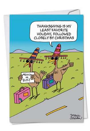 Hysterical Happy Holidays Printed Card by Maria Scrivan from NobleWorksCards.com - Hitchhiking Turkeys