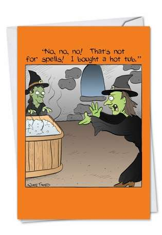 Humorous Halloween Paper Card by Nate Fakes from NobleWorksCards.com - Hot Tub Spells