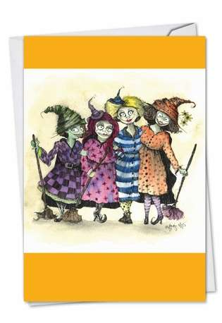 Witch Friends: Funny Halloween Printed Card