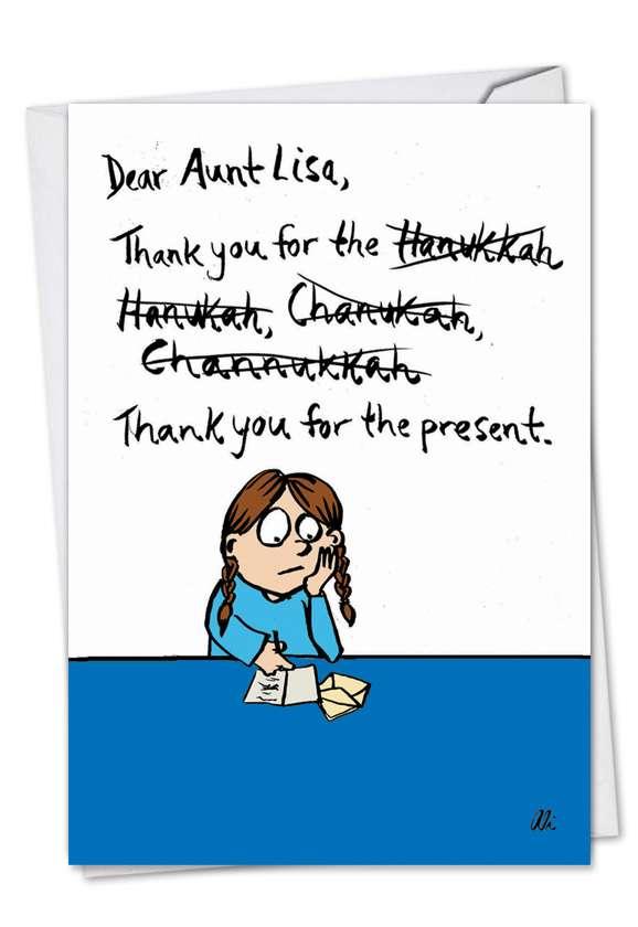 Funny Hanukkah Greeting Card by Alison Solomon from NobleWorksCards.com - Spellings