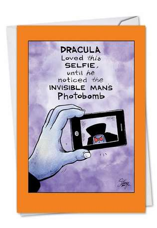 Humorous Halloween Greeting Card by Tony Lopes from NobleWorksCards.com - Dracula Selfie