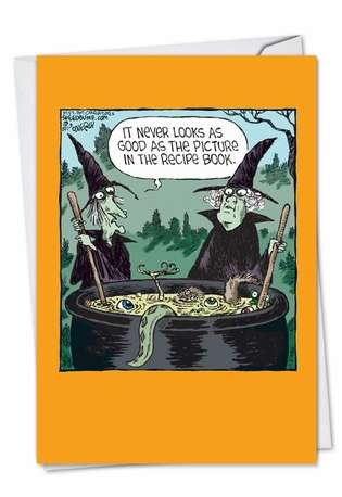 Funny Halloween Paper Greeting Card by Dave Coverly from NobleWorksCards.com - Witch Recipe Book