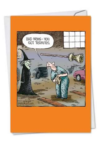 Hilarious Halloween Printed Greeting Card by Dave Coverly from NobleWorksCards.com - Broom Check