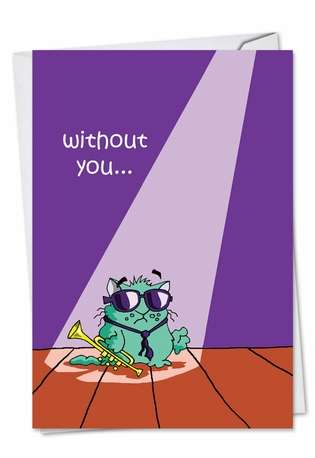 Hysterical Miss You Printed Card by D. T. Walsh from NobleWorksCards.com - Lonely Cat