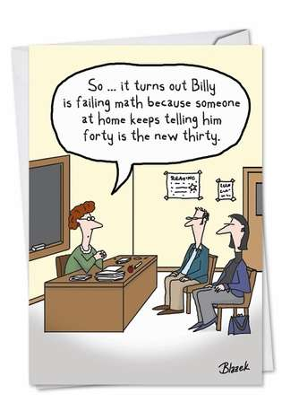 Funny Birthday Greeting Card by Dave Blazek from NobleWorksCards.com - Billy Failing Math