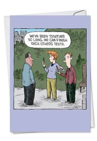 Funny Anniversary Printed Greeting Card by Dave Coverly from NobleWorksCards.com - Each Other's Texts