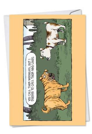 Funny Birthday Paper Greeting Card by Dave Coverly from NobleWorksCards.com - Wag Lines