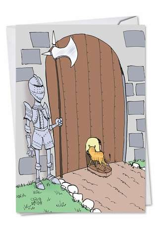 Humorous Birthday Paper Greeting Card by Gary McCoy from NobleWorksCards.com - Castle Cat Door
