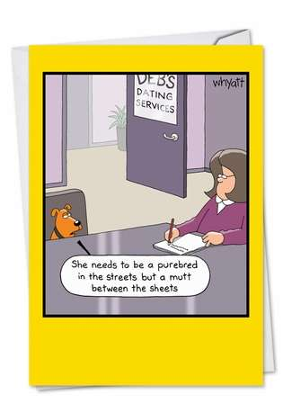 Funny Birthday Paper Greeting Card by Tim Whyatt from NobleWorksCards.com - Dog Dating Service
