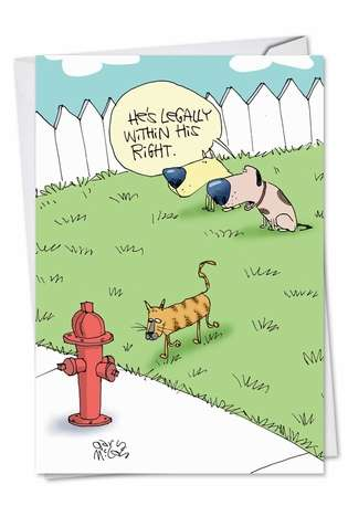 Funny Birthday Paper Card by Gary McCoy from NobleWorksCards.com - Cat Hydrant