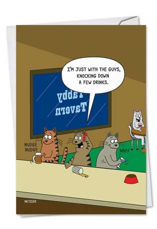 Humorous Birthday Printed Greeting Card by Scott Metzger from NobleWorksCards.com - Knocking Down Drinks