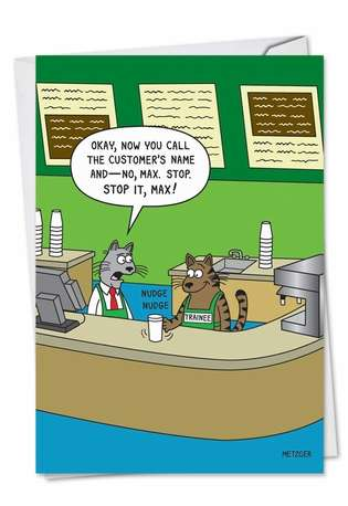 Hysterical Birthday Paper Card by Scott Metzger from NobleWorksCards.com - Cat Barista