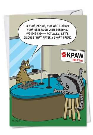 Hilarious Birthday Greeting Card by Scott Metzger from NobleWorksCards.com - Cat Radio