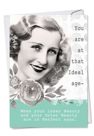 Funny Birthday Paper Greeting Card by Debbie Tomassi from NobleWorksCards.com - Ideal Age