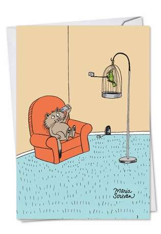 Hysterical Birthday Printed Card by Maria Scrivan from NobleWorksCards.com - Cat, Bird, Mouse Selfies