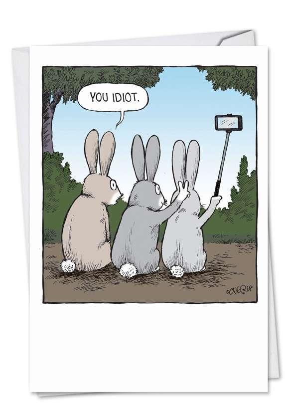 Bunny Selfies Birthday Greeting Card By Nobleworks