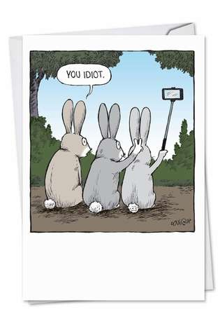 Humorous Easter Paper Card by Dave Coverly from NobleWorksCards.com - Bunny Selfies