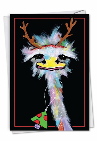 Stylish Merry Christmas Paper Card By Jenny Foster From NobleWorksCards.com - Merry Ostriches - Necklace