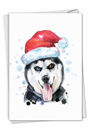 Stylish Merry Christmas Paper Greeting Card From NobleWorksCards.com - Merry Mutts - Husky