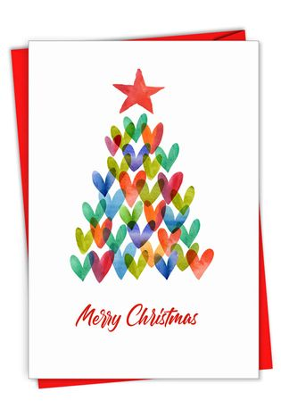 Stylish Merry Christmas Card From NobleWorksCards.com - Holiday Hearts
