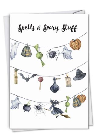 Stylish Halloween Card From NobleWorksCards.com - Gourds and Ghouls - Strung up