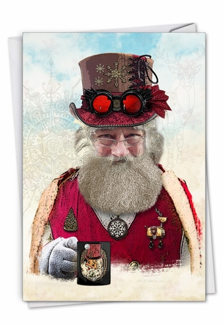 Creative Merry Christmas Greeting Card From NobleWorksCards.com - Steampunk Holidays - Mug