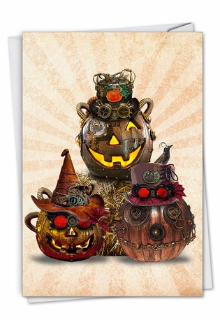 Creative Halloween Printed Card From NobleWorksCards.com - Steampunk Halloween - Group