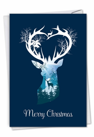 Stylish Merry Christmas Paper Greeting Card From NobleWorksCards.com - Reindeer Silhouette - pond