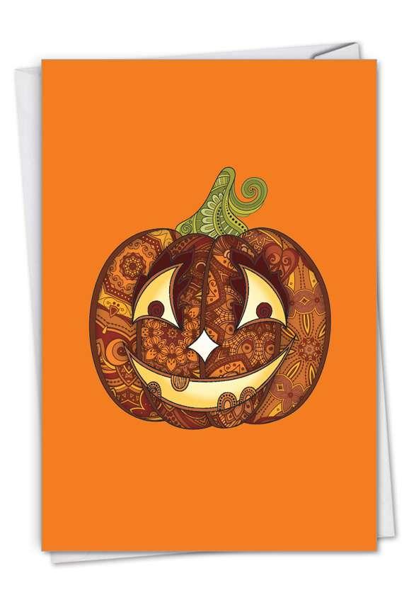 Stylish Halloween Card From NobleWorksCards.com - Artful Pumpkins - Smiling