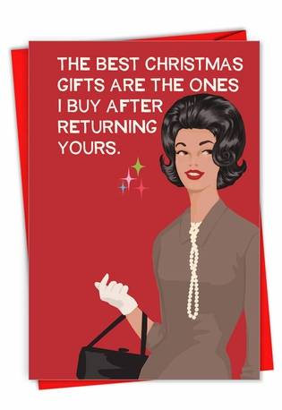 Hilarious Merry Christmas Printed Card By Bluntcard From NobleWorksCards.com - Returned Gifts