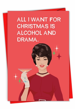 Humorous Merry Christmas Paper Card By Bluntcard From NobleWorksCards.com - Alcohol And Drama