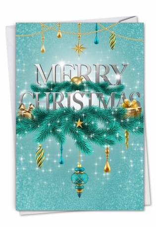 Creative Merry Christmas Greeting Card From NobleWorksCards.com - Season's Sparkles - Ribbons