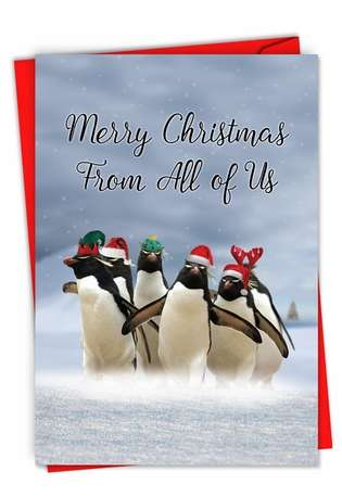 Humorous Merry Christmas Paper Card From NobleWorksCards.com - Penguins and Greetings Christmas From Us
