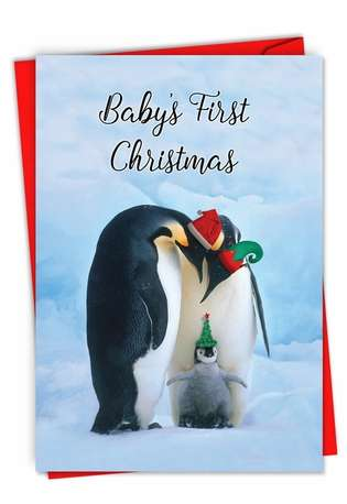 Hysterical Merry Christmas Printed Card From NobleWorksCards.com - Penguins and Greetings-Baby's First Christmas