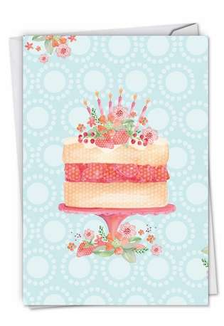 Stylish Birthday Paper Greeting Card by Karen Bentley from NobleWorksCards.com - Watercolor Cake
