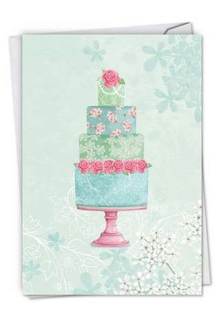 Stylish Wedding Paper Card by Karen Bentley from NobleWorksCards.com - Watercolor Cake