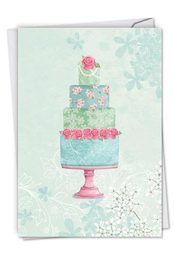 Watercolor Cake: Stylish Wedding Paper Card