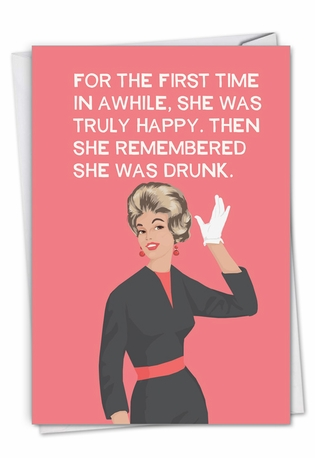 Truly Happy: Humorous Birthday Paper Greeting Card