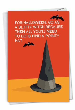 Hilarious Halloween Printed Card By Bluntcard From NobleWorksCards.com - Pointy Hat